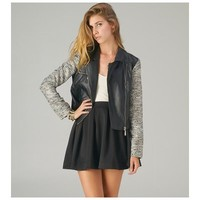 Two Tone Black Leather Moto Jacket