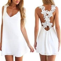 Women V-neck Backless Lace Crochet Chiffon Beach Mini A-line Dress