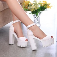2016 New style high heels women sandals open toe sandals female thick heel platform  summer shoes big size 9