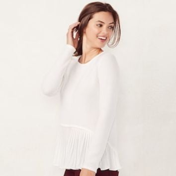 Women's LC Lauren Conrad Pleated Mock-Layer Top | null