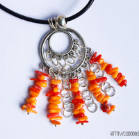 Coral Necklace - Beautiful necklace with red and yellow coral on double hoop with black cord