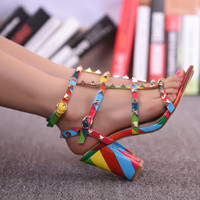 Women Sandals  Sexy Valentine Shoes Woman Gladiator Sandals Women Rainbow Women Shoes Rivet High Heels Pumps sapato feminino