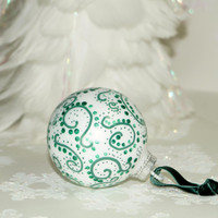 Bold, Eye-catching Swirls with Dots, Hand Painted Glass Christmas Ornament, White with Green, Stark Contrast- Great Gift