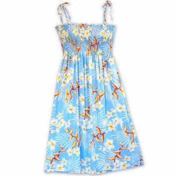 Heliconia Bliss Blue Moonkiss Hawaiian Dress