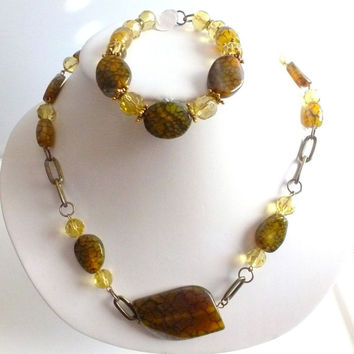 Dragon Vein Agate Necklace, Chunky Style, Moss Green, Unique Stone,Glass,Chain Jewelry