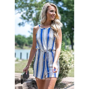 Knotted Front Keyhole Striped Romper