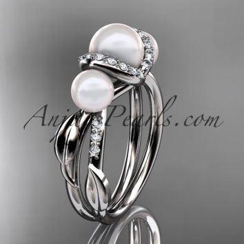 Platinum diamond pearl engagement ring AP274