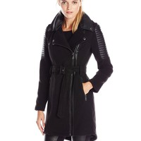 BCBGeneration Women's Wool Moto Coat