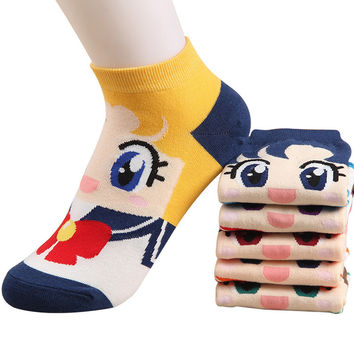 cute cartoon sailor moon patterns cotton short socks for women spring summer fashion boat socks girl ankle socks 6pairs/lot
