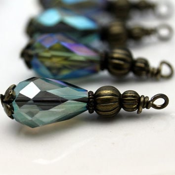 Peacock Blue Teardrop Crystal and Brass Ribbed Bead Dangle Charm Drop Set