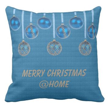 Merry Christmas Blue Gold Glitter Baubles Text Throw Pillow