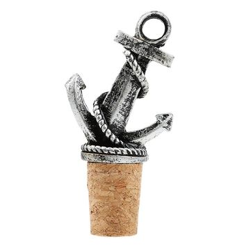 Nautical Anchor Wedding Wine Bottle Stopper Reception Favor Cocktail Party Tool Cork Drink (Color: Silver)
