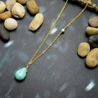 A-107 Turquoise drop necklace, Metal beads necklace, Simple necklace, Modern necklace, Gold plated/Bridesmaid/gifts/Everyday jewelry/