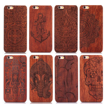 Laser Carving 100% Natural Green Real Wood Wooden Rosewood + PC Plastic Case Cover Phone Shell Skin iPhone 6 6S