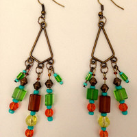 Modern Boho-Chic Earrings, Bohemian Multi-Color Chandelier Dangling Fashion Jewelry