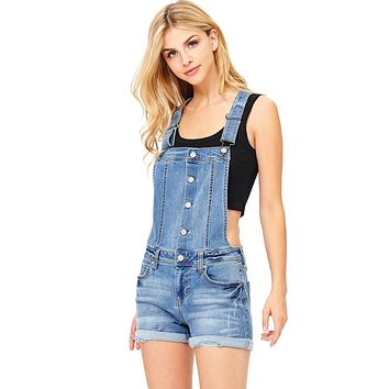 Button Front Denim Shortalls