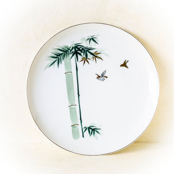 Vintage YY Made in Japan Dinner Plate Sparrow and Bamboo