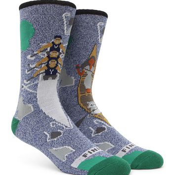 """New"" Socks Canoe Vs. Row Crew Socks - Mens Socks - Blue - One"