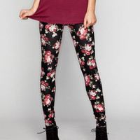 Full Tilt Floral Print Womens Leggings Black  In Sizes