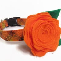 designer dog collar and flower CUSTOM Fall Vibrant Plaid & Orange Felt Rose - girl dog collar, cute collar, made to order