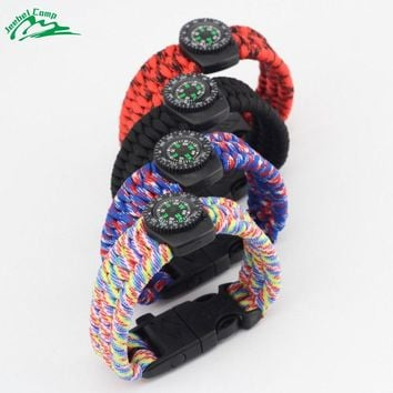 Jeebel Compass 550 4mm Paracords Whistle Bracelets Multifunction Outdoor Survival Kits Rope Cord Camping Equipment Tactica