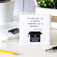 Writer gifts, ceramic coasters, gifts for writers, tile coaster set, gift for him gift for her, Victor Hugo quote, vintage typewriter, resin