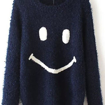 Navy Blue Smile Print Long Sleeve Sweater