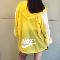 "Hot Sale ""NIKE"" Trending Stylish Hoodie Zipper Cardigan Sweatshirt Jacket Coat Windbreaker Sportswear Yellow White I-AA-XDD"