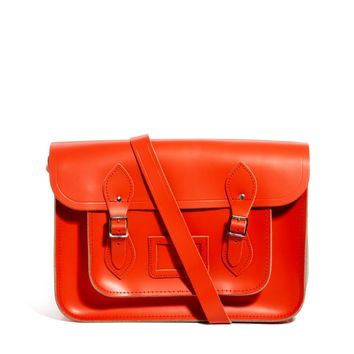"Cambridge Satchel Exclusive to ASOS Tomato Red Leather 14"" Satchel"