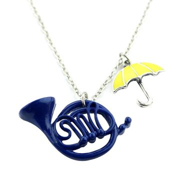 New How I Met Your Mother The Blue French Horn Necklace Pendant Yellow Umbrella With Silver Chain TV Jewelry For Women