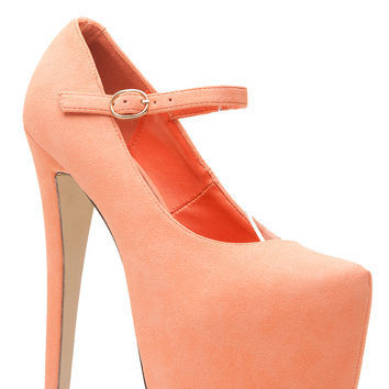 Peach Faux Suede Platform Mary Jane Heels