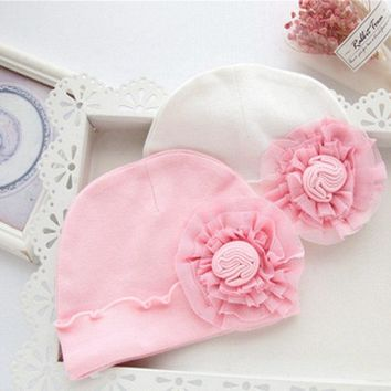 Baby Girls Soft Cotton Cap Infant Girls Toddler Big Flower Hat Kids Floral