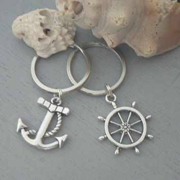 Gift Set Anchor and Ships Wheel Key Chain Nautical Helm Charm Key Ring His Hers Couple Gift Best Friend