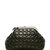 Rochas Leather Trapunto Madame Clutch Black
