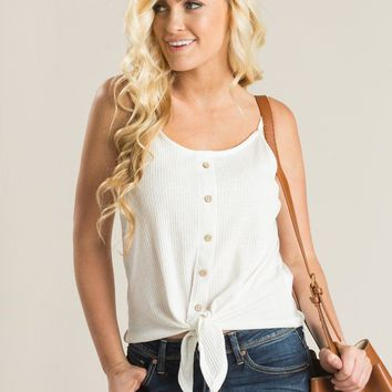 Sabrina White Button Cami