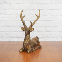 LARGE Vintage Brass Reindeer Statue   Rustic Brass Buck with Tall Antlers