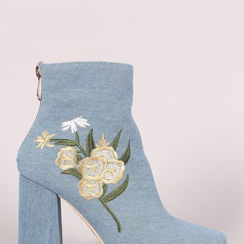 Denim Floral Embroidered Ankle Boots