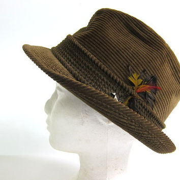 Mens Vintage green corduroy Fedora Hat w Feather Size 7