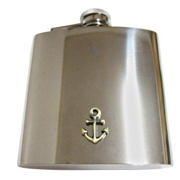 Brass Toned Nautical Anchor 6 Oz. Stainless Steel Flask