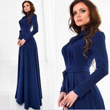 Prom Dress Round-neck Long Sleeve Shaped One Piece [6446620228]