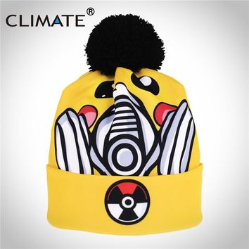CLIMATE Women Pokemon Winter Warm Pompom Hat Beanie Girl Unique Funny Pikachu Yellow Soft Knitted Yellow Beanies Hat For Women