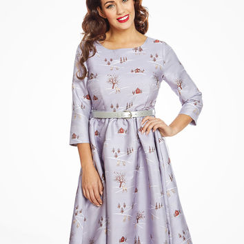'Holly' Winter Scene Print Swing Dress | Vintage Inspired Fashion | Lindy Bop