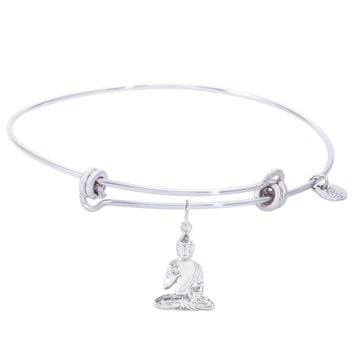 Sterling Silver Balanced Bangle Bracelet With Buddha Charm