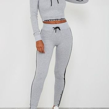 Grey Patchwork Drawstring 2-in-1 Fashion Long Jumpsuit