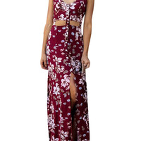 Boho Floral Print Cut-out Design High Slit Spaghetti Strap Dress