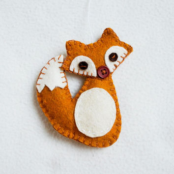 Fox ornament felt, handmade, Christmas ornament, Birthday gift, nursery decor, home decoration