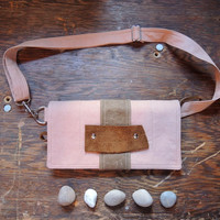 mini messenger satchel Fanny Pack Waist pouch in peach pink canvas with swallows birds interior small minimalist purse tiny waxed handbag