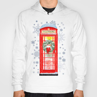 Red British Telephone Box In Falling Snow - Christmas Hoody by Mark E Tisdale
