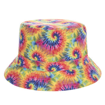 Tie Dye Adult Unisex Yellow Sky Blue Red & Green Casual Summer Beach Flat Bucket Hat