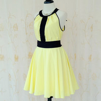 Luna Night Sweet Dress Pleated Dress Pale Yellow Dress Prom Party Dress Yellow Wedding Bridesmaid Dress Summer Sundress XS-XL